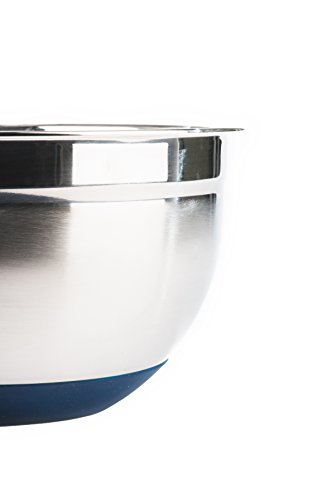 Stainless Steel Mixing Bowls with Lids (Set of 3) by Fitzroy and Fox, Blue or Red
