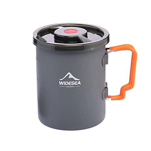Olla de acero inoxidable plegable al aire libre para acampar, olla de café portátil, 1,2 l, de aluminio anodizado ligero, para camping, senderismo, cocina
