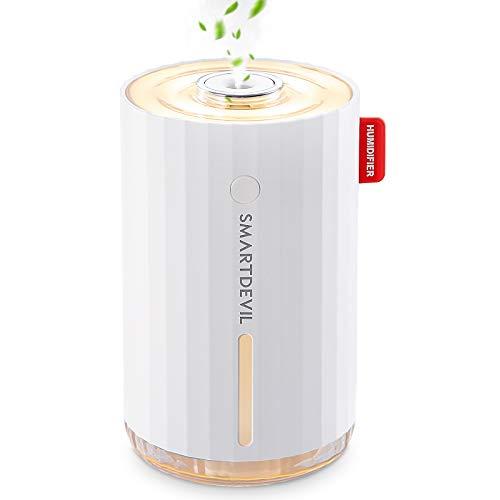 SmartDevil Humidificador 280ml(Sin batería), humidificadores ultrasónicos de Aire con alimentación USB, Apagado automático para el el hogar,Dormitorio,la Oficina,Aceite Esencial Prohibido - 2 Filtros