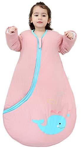 Chilsuessy Baby Schlafsack Winter mit abnembar Langarm Wattiert Babyschlafsack Kleine Kinder Ganzjahres Schalfsack Schlafanzug für Jungen und Mädchen, Pink Wal/3.5 Tog, 120cm/Baby Höhe 110-130cm