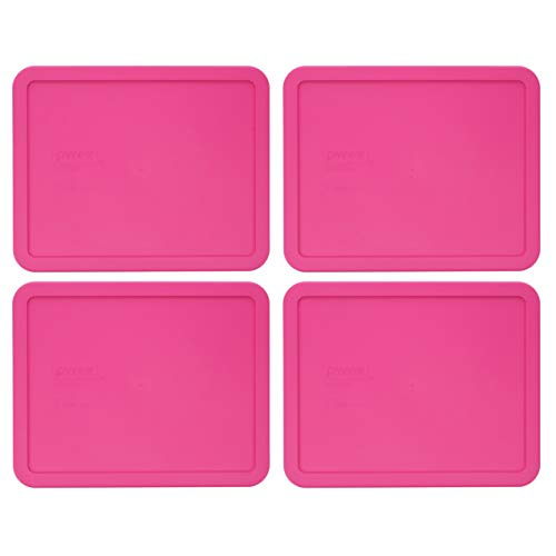 Pyrex 7212-PC Pink Plastic Rectangle Replacement Storage Lids - 4 Pack