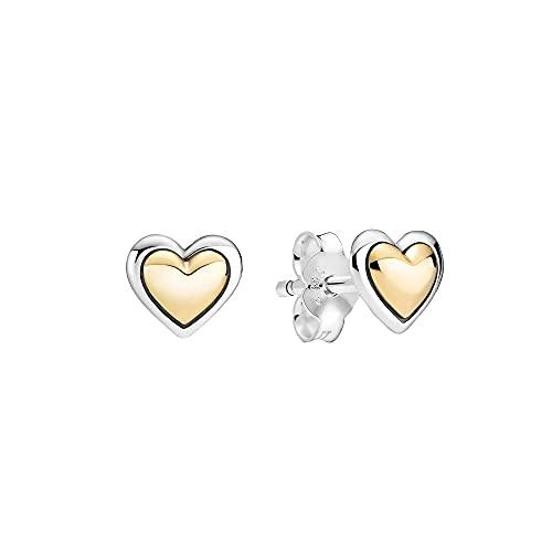 Pandora Pandora Moments Collection - Pendientes de plata de ley con forma de corazón y oro de 14 quilates