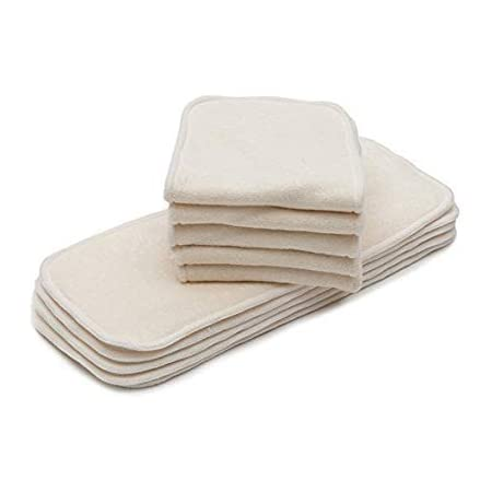 HuntGold 3pc White Reusable Baby Bamboo Cloth Diaper Inserts Pad Nappy Liner 5-Layer For Newborn Toddler