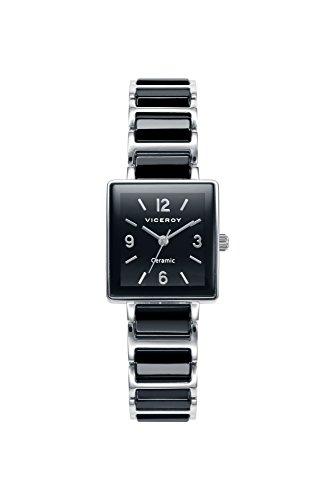 Viceroy 471046-55 Reloj de mujer cuadrado de acero y cerámica en negro