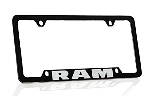 Dodge Ram Black Coated Metal Bottom Engraved License Plate Frame Holder by Dodge