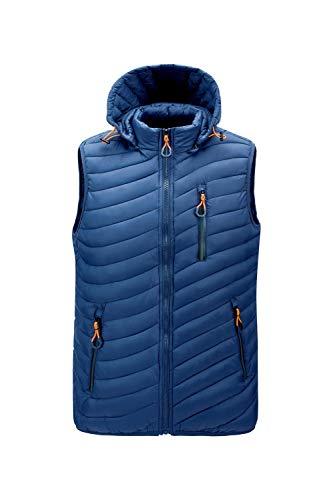 Chaleco de invierno para hombre, chaqueta impermeable y cortavientos, para exterior, para hombre y mujer, ropa de invierno, cálido, chaleco deportivo, senderismo, ropa deportiva Rls22933 Azul L