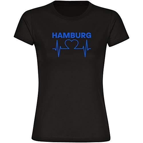 T-Shirt Hamburg Herz - Herzschlag - Puls schwarz Damen Gr. S bis 2XL - Hamburg Hamburgerin Fußball Fanartikel, Größe:M