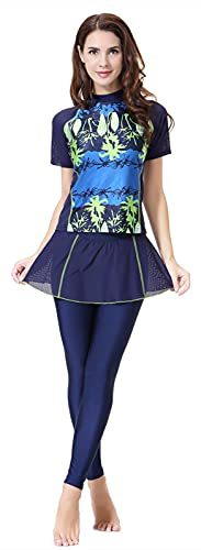 WOWDECOR Modest 2 Pieces Swimsuits for Women Girls, Muslim Swimming Costume Women Short Sleeve Surfing (Navy Blue, L)