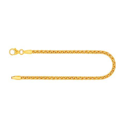 Pulsera para mujer de oro real de 2.5 mm, pulsera collar cola de cerdo oro amarillo 14 k 585, pulsera de oro con sello, con cierre de langosta con lazo, long 18 cm, p. 4,5 g