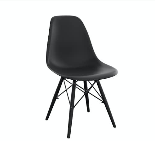 Toppy, Heron Classic C - Set de 4 sillas 7068 C. Silla con Asiento y Patas de Polipropileno de Alta Calidad con cruceta de Metal. (4, Negro)