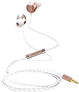 Emartbuy Original LG Quadbeats 3 Gold Tuned by AKG Auriculares con micrófono y Control de Volumen Adecuado para LG G5, LG G6, LG V20 y Otros Dispositivos LG con Jack de Audio de 3,5 mm