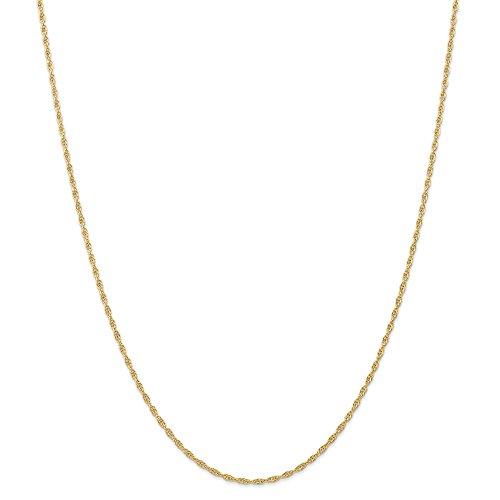 Diamond2deal 14K giallo oro 1.55mm cavo corda catena collana 45,7cm