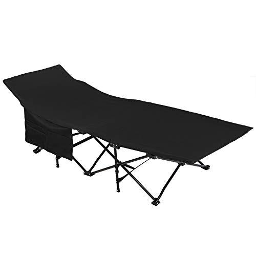 ALPIDEX Feldbett Campingbett Klappbar 190 x 67 x 40 cm Belastbar bis 120 kg Seitentasche Transporttasche Tragbar Faltbar, Farbe:Black