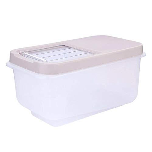 Bastidores de almacenamiento de la cocina Almacenamiento de arroz Hogar Cubo de arroz a prueba de humedad transparente contenedor de almacenamiento de cocina japonés plástico arroz barril 10 kg