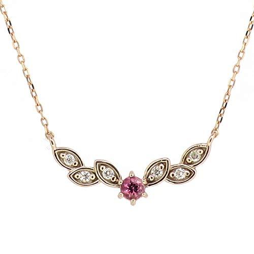 新宿銀の蔵 花 ゴールドネックレス 金 10金 K10 植物 リーフ 葉 ピンクゴールド ダイヤモンド ダイアモンド ネックレス 首飾り