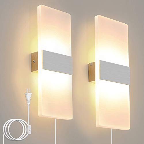 Lightess Plug in Sconces 12W Up Down Wall Lights LED Modern Acrylic Wall Lamp for Living Room Bedroom Corridor Warm White, Pack of 2
