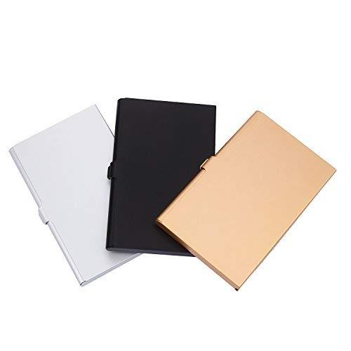 moinkerin Tarjetero Ejecutivo para Tarjetas de Presentacion, Estuche para Tarjetas de Identificación Tarjetas de Crédito, Acero Inoxidable, 3 Piezas en Plata Oro Negro