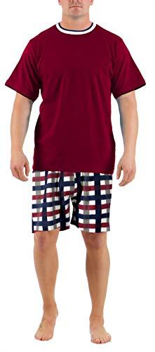 Herren Shorty Porto Schlafanzug Nachtwäsche Gr. 52/L, Rundhals Bordeaux Kurze Hose mit Karodruck Hose