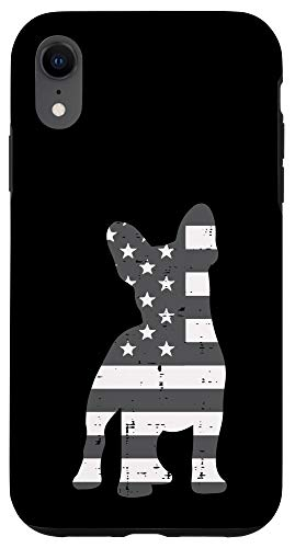 iPhone XR Gray US Flag French Bulldog Frenchie Patriotic Pet Dog Gift Case