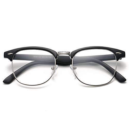 COASION Vintage Semi-Rimless Clear Glasses Fake Nerd Horn Rimmed Eyeglasses Frame (Matte Black/Silver Rimmed)