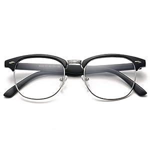 COASION Vintage Semi-Rimless Clear Glasses Fake Nerd Horn Rimmed Eyeglasses Frame