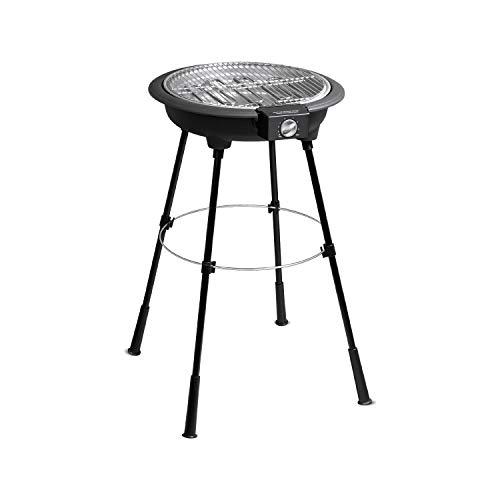 Larel Barbecue Elettrico BBQ Rotondo con Supporto Nero 2200W CUOCE Senza Fumo