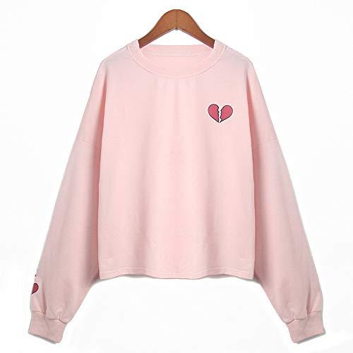 Tzzdwy Vrouwen Kawaii Roze Hoodie Mode O-Hals Lange Mouw Sweatshirt Mooie Hartvormige Gedrukte Jumper Causal Tracksuit
