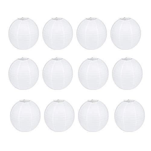 12 Piezas Linterna de Papel Blanco,Linterna de Papel Redonda Decorada, Fiesta, Cumpleaños, Navidad y Boda.8