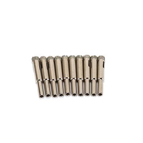 LF-wujin, 10pcs 10mm Diamond Coated Core Brocas Sierras de perforación Cortador Herramienta for la cerámica de Vidrio de mármol del azulejo