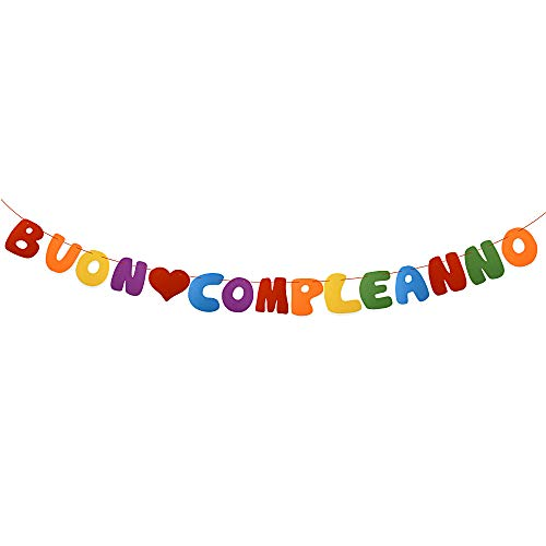 MEJOSER Italian BUON COMPLEANNO Banner Felt Happy Birthday Banner Flag Garland Birthday Party Decoration (Rainbow Color)