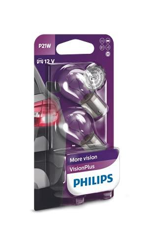 Philips 12498VPB2 VisionPlus - Lampara de señalización para coches (P21W, 2 unidades)