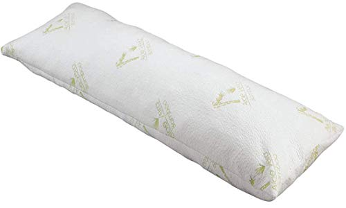 As Seen on TV Aloe Vera Bamboo Body Pillow with Pressure Relieving Memory Foam, Cooling Tech, Hypo Allergenic & Aloe Vera Bamboo Infused Cover