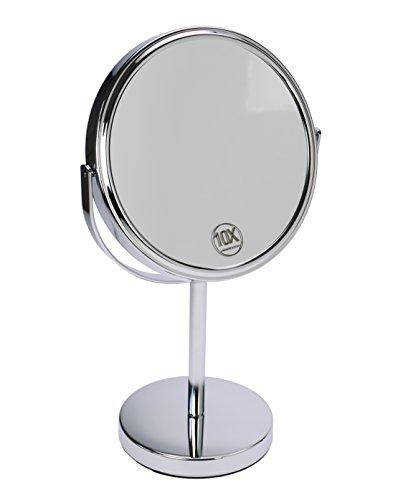 Fantasia Miroir sur Pied Rond Double Face grossissant Normal et 10 x Ø 18 cm, Hauteur 32 cm, Miroir cosmétique métal/argenté