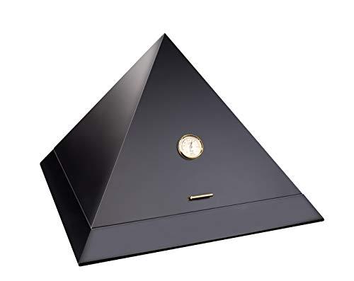 Humidor a piramide di ADORINI Deluxe | humidor di marca con umidificatore ADORINI Deluxe placcato in oro, igrometro a capello di precisione, NERO.