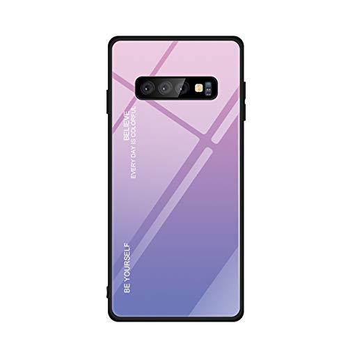 Hexcbay Estuche de Vidrio de la Serie Compatible con Samsung Galaxy S10 Estuche de Vidrio Templado para teléfono Celular Doble Estuche Protector Resistente