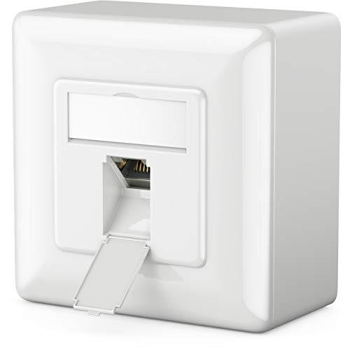 deleyCON 1x CAT6 Universal Netzwerkdose - 1x RJ45 Port - Geschirmt - Aufputz oder Unterputz - 1 Gigabit Ethernet Netzwerk - EIA/TIA 568A&B - Weiß