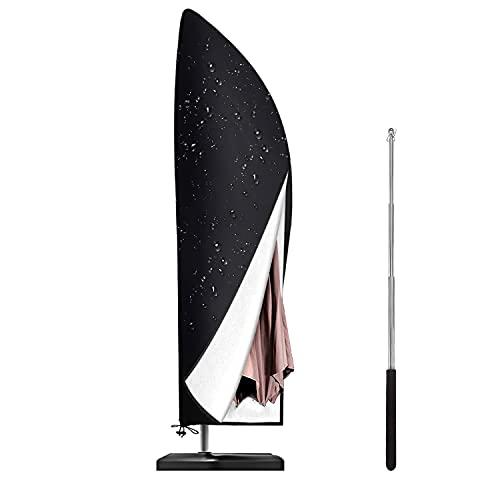 Sonnenschirm Schutzhülle mit Stab, Schutzhülle Ampelschirm, Wasserdichte, UV-Beständiges Sonnenschirm Hülle Reißverschluss Design (265 x 50/70/40 cm)