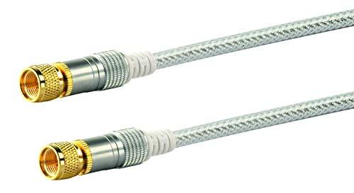 Schwaiger KVCHD150532 HDTV SAT-Anschlusskabel 15 m, F-Stecker auf F-Stecker, 110dB, 4-fach, vergoldete Rädelmutter, transparent