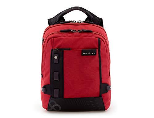"""SCHARLAU - Mochila de Nailon con Compartimento para Portátil hasta 13,3"""" Pulgadas, Personalizable con Nombre, 33 x 39 x 13 cm, en Color Rojo"""