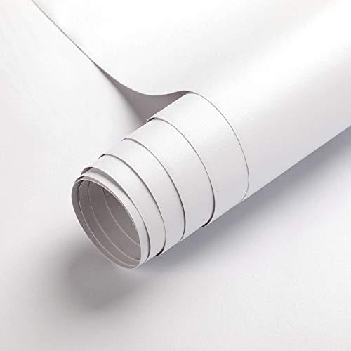 KINLO Selbstklebende Klebefolie, 0.61 * 5M weiße verdickte Küchenschrank Aufkleber Matt Möbelfolie für Möbel Schrank Tische Wand Folie Tapete Dekofolie