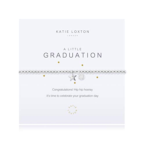 Katie Loxton A Little Graduation Star Silver Women's Stretch Adjustable Charm Bangle Bracelet