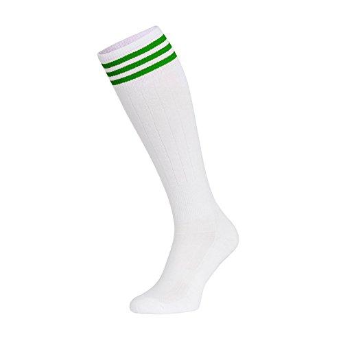 Nessi Chaussettes hautes/mi-bas en coton pour femme Pour le sport, la course, le volley, le fitness, la danse, les patins à roulettes en ligne, Femme, Vert blanc., 35-37