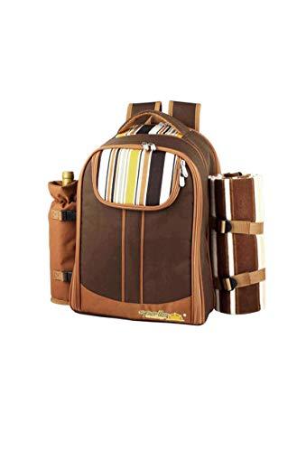 KXW Picknicktasche Tragbarer Campingrucksack Mit Besteck Kühlschranktasche Picknick-Set Für 4 Camping Kühltaschen Mit Decke