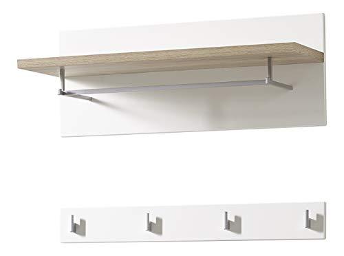 Germania 3463-221 2-teiliges Garderobenpaneel im skandinavischen Design GW-Oslo in Weiß/Absetzungen Sanremo-Eiche-Nachbildung, 76 x 53 x 33 cm (BxHxT)