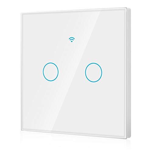 Interruttore Smart Dimmer, Interruttore touch screen WiFi per LED dimmerabili, compatibile con Alexa, Google, telecomando APP a 2 vie AC 100-250V (EU)(White)