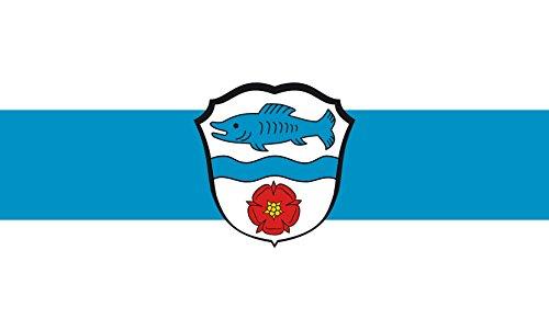 Diplomat magFlags Raum-Fahne mit modernem verchromtem Fahnenständer & Marmor-Fuß   Flagge: Wörthsee 90x150cm   Höhe: 230cm