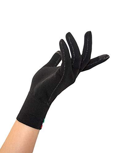 Relaxsan UNIMA GO [Negro, S/M] - Guantes antibacterianos lavables reutilizables hilo Dryarn y fibra de plata X-Static