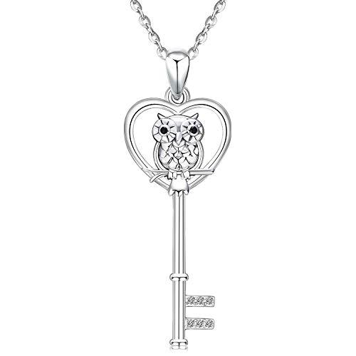 Colgante de Mujer, Collares Llave Búho Corazón Amoroso Aniu plata de ley 925 Joyería para Novia Mujer Con Caja Regalo Cadena 46 cm
