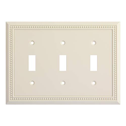 Sunken Pearls Decorative Switch Plate/Wall Plate/Outlet Cover (Triple Toggle, Light Almond)