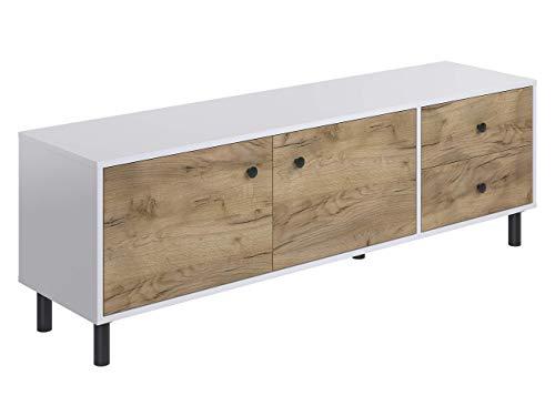 Marchio Amazon -Movian, mobile TV a 2 sportelli e 2 cassetti in stile rustico, modello Aggol, 40 x 160 x 52 cm, Effetto Quercia